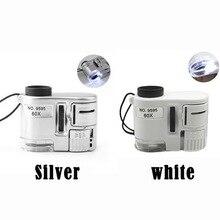 цена на Magnification 60X Handheld Magnifying Glass Mini Pocket Microscope Loupe Currency Detector Jeweler Magnifier W/ LED Light