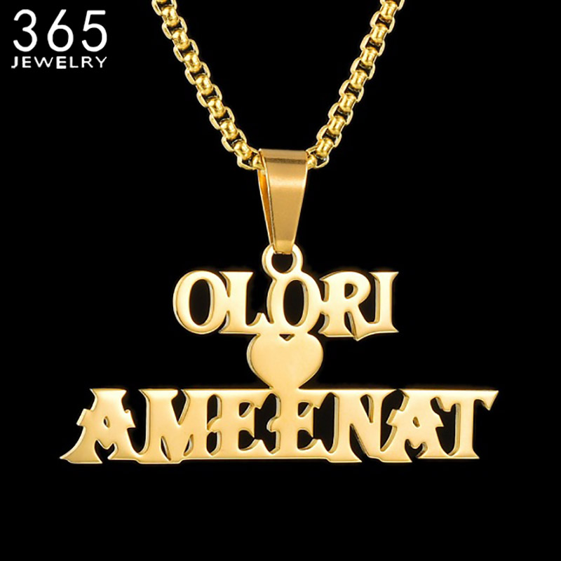 Collar con placa de nombre personalizada para mujer, joyería de acero inoxidable, cadena de perlas cuadradas, collar femenino