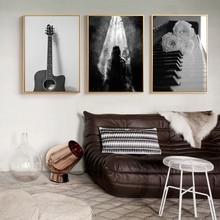 Черно белая Картина на холсте с цветами абстрактная современная картина плакат для гостиной картина черный белый пейзаж без рамки