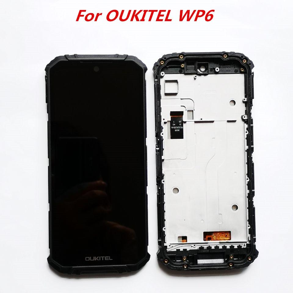 Original 6.3 polegada tela de toque + 2340x1080 display lcd com quadro digitador assembléia para oukitel wp6 smartphone android 9.0