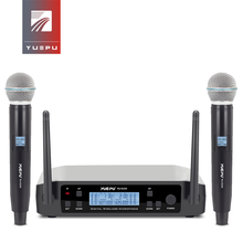 YUEPU RU D220 UHF Handheld Karaoke Microphone Wireless Professional System 2 Channel Frequency Adjustable Cordless For Church