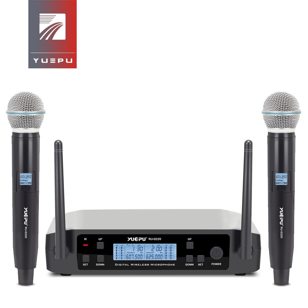 YUEPU RU-D220 UHF Handheld Sistema de Microfone de Karaokê Sem Fio Profissional 2 Frequência do Canal Sem Fio Ajustável Para Igreja