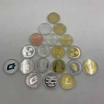 19pcs/lot silver/gold Plated Coins Bitcoin/Ethereum/Litecoin/Dash/Ripple/Monero/EOS coin Metal Commemorative Coin 1