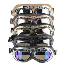 Универсальный винтажный пилот байкер защитные очки для мотоциклистов для шлема с открытым лицом Половина мотокросса очки для мотоциклов