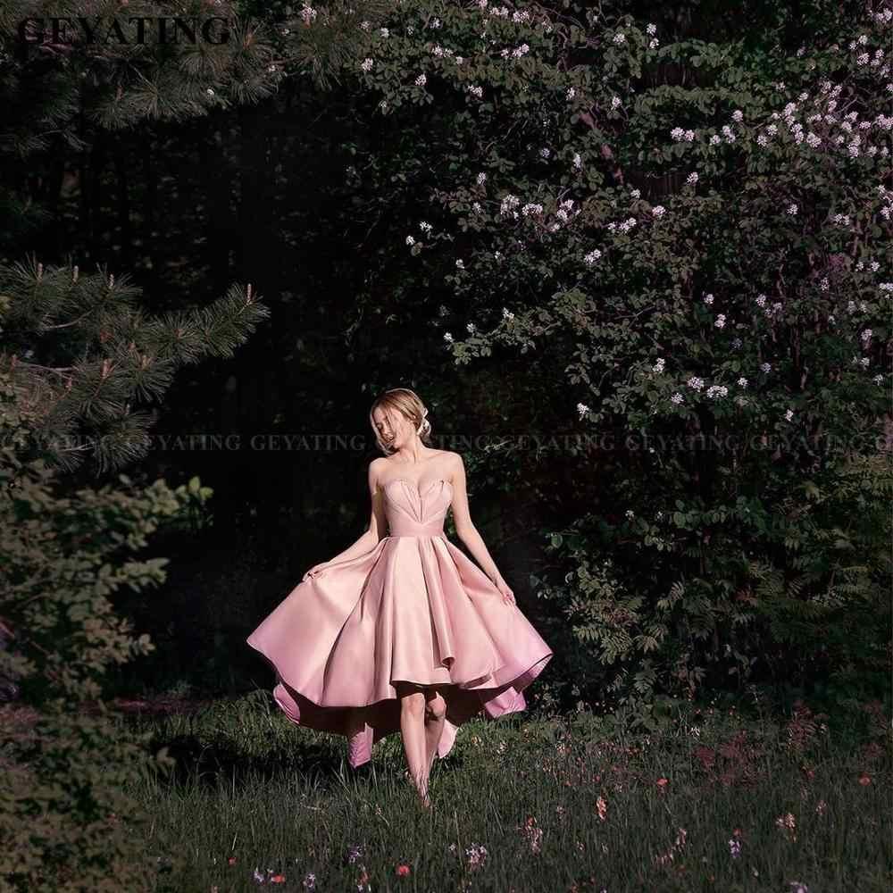 Sexy Querida Blush Rosa Alta Baixa Prom Dresses Vestidos Formais Com Arco Plus Size A Line Do Regresso A Casa Vestido De Renda Up Vestido De Noite
