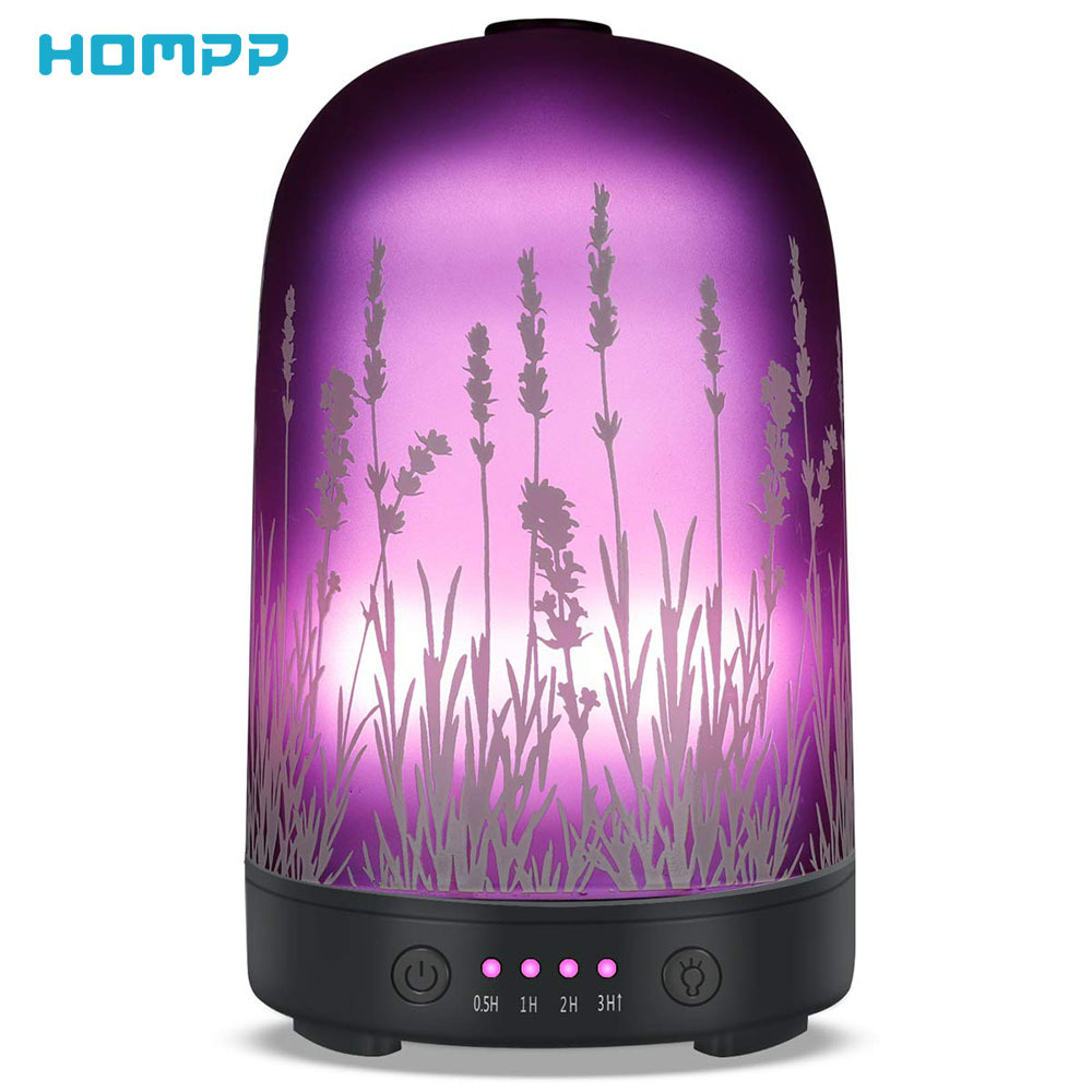 Lavender Ultrasonic Aroma Diffuser Glass Air Humidifier Essential Oil Aromatherapy Machines Fragrance Cool Mist 100ml 7Color LED