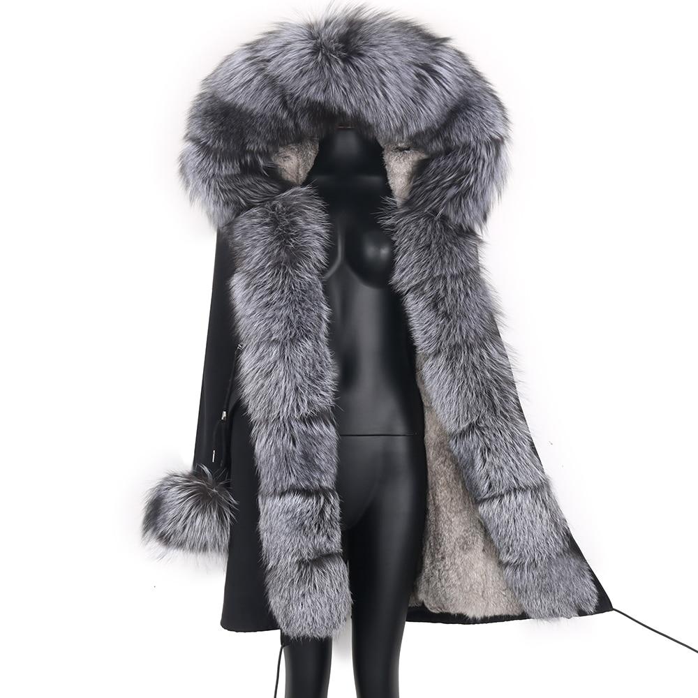 2021 Real Fur Coat Natural Real Fox Fur Collar Warm Big Fur Outerwear Detachable Female Long Parka Women Fashion Winter Jacket 1