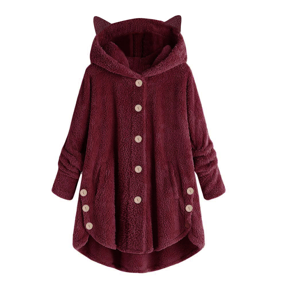 Ha6f2b89cb219446f9fb930bebd99afdaz Women Flannel Coat Pockets Solid fleece Tops Hooded Pullover Loose Hoodies Plus Size Cat Ear Cute Womens Warm Sweatshirt 2019