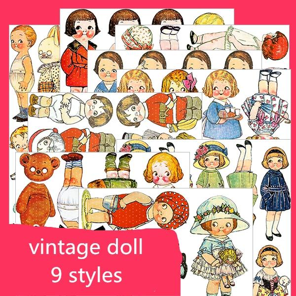 Vitage Cartoon Doll Crossdress Stickers Crafts And Scrapbooking Stickers Book Student Label Decorative Sticker Kids Toys
