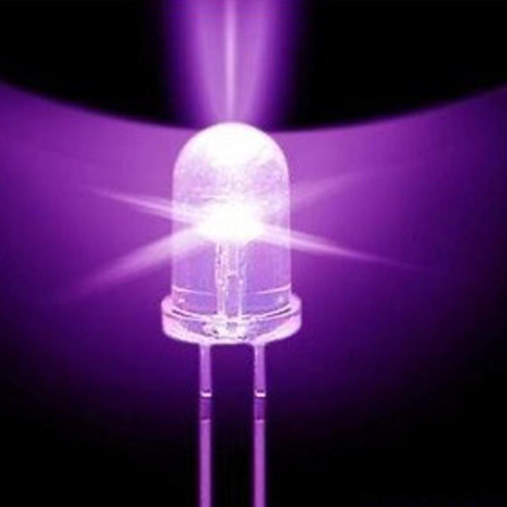 50PCS Super Bright F5 5mm Round UV/ Purple LED Emitting Diode 390-395nm Purple Lamp F5 LED Light For DIY Lights