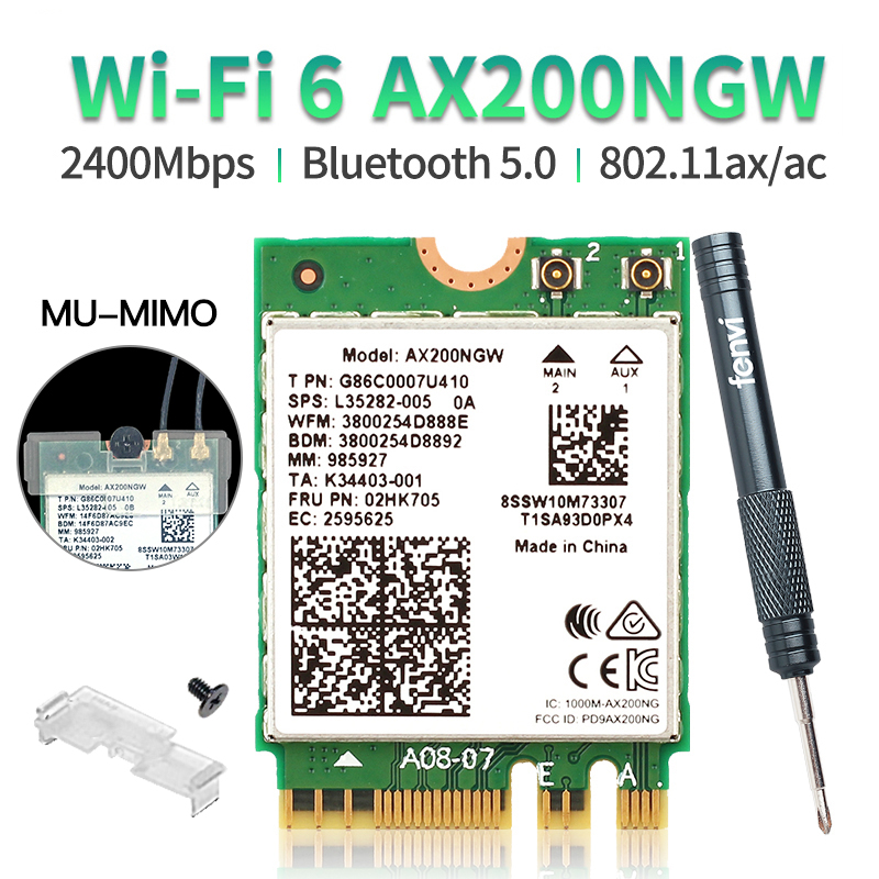 Wireless Dual Band For Intel AX200 WiFi 6 802.11ax/ac 2400Mbps NGFF M.2 Key E Bluetooth 5.0 Card For Intel 9260 8265 Adapter