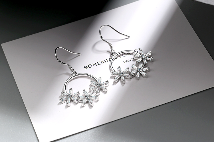 ANENJERY Literary Ice Zircon Flower Wreath 925 Sterling Silver Earrings For Women Two Colors S-E925 9