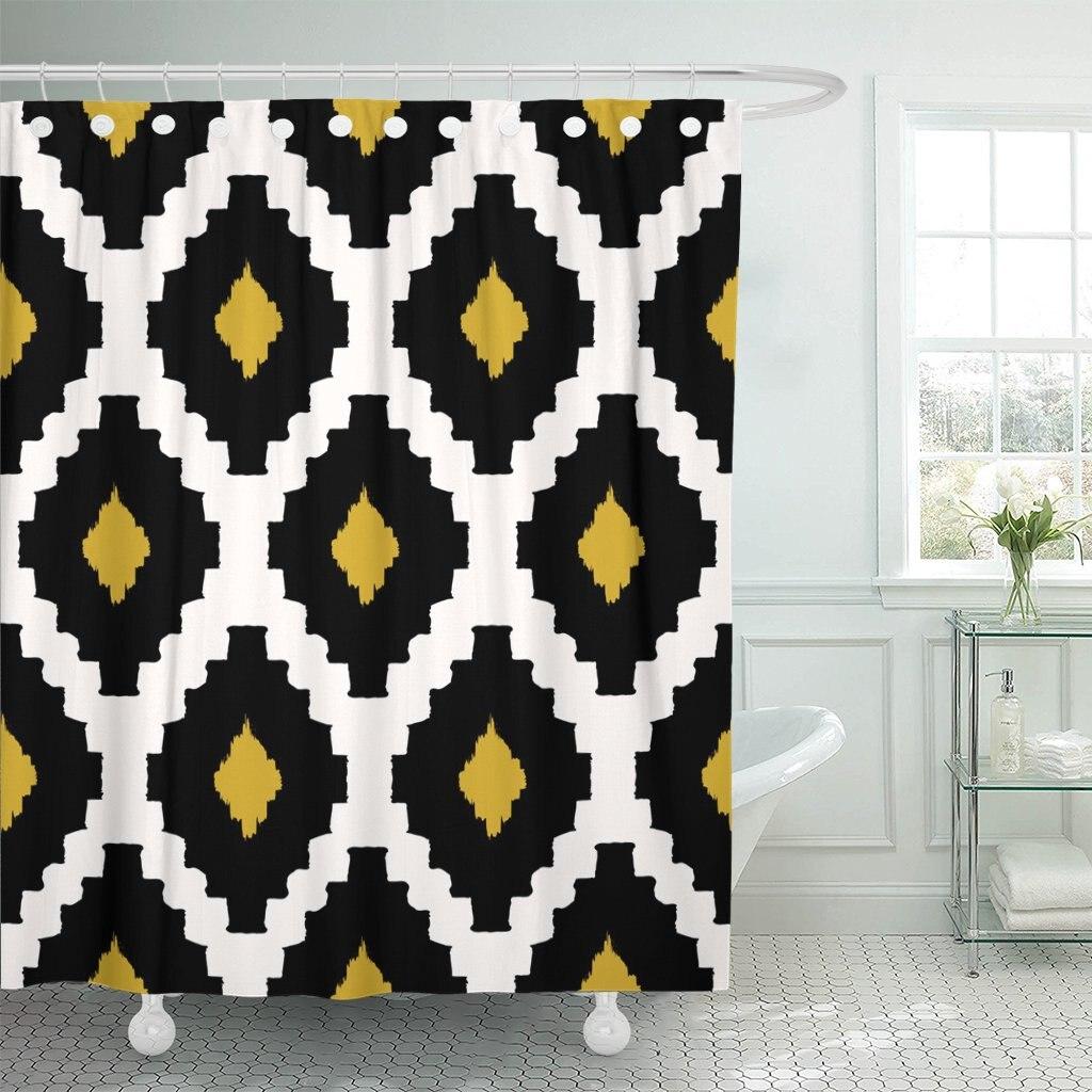 chevron tribal pattern in black yellow and cream modern wall design diamond ethnic shower curtains waterproof polyester fabric