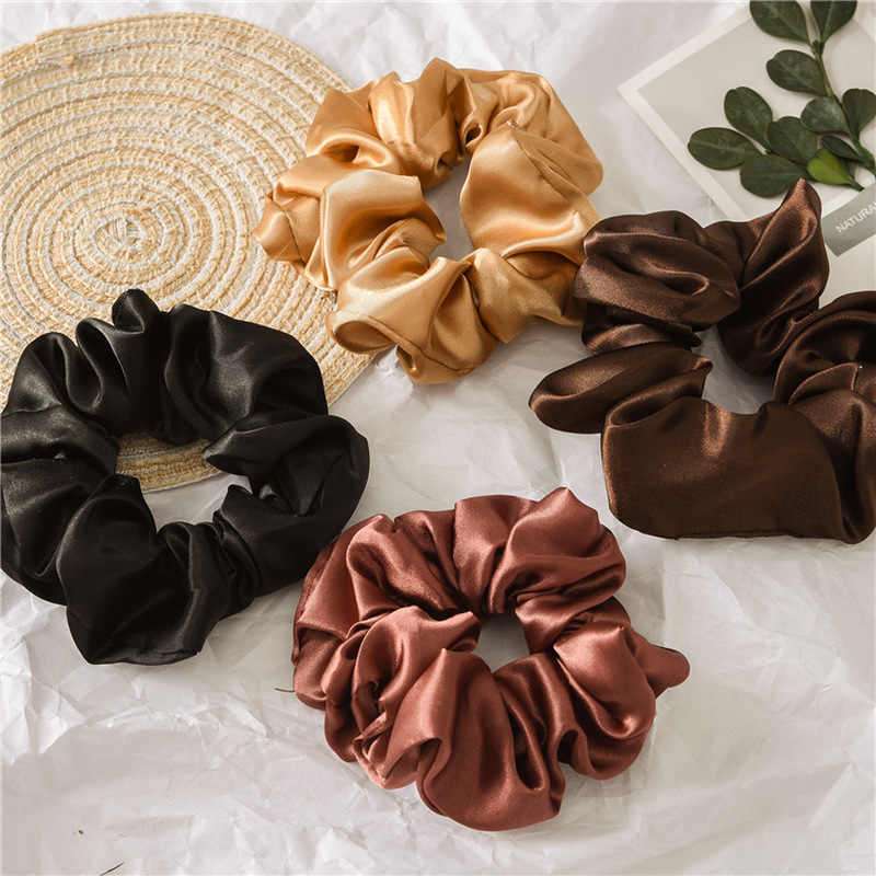 Fashion Solid Color Reflect Light Hair Scrunchies Ponytail Holder Soft Stretchy Hair Elastic Rope Accessories Women Hairband