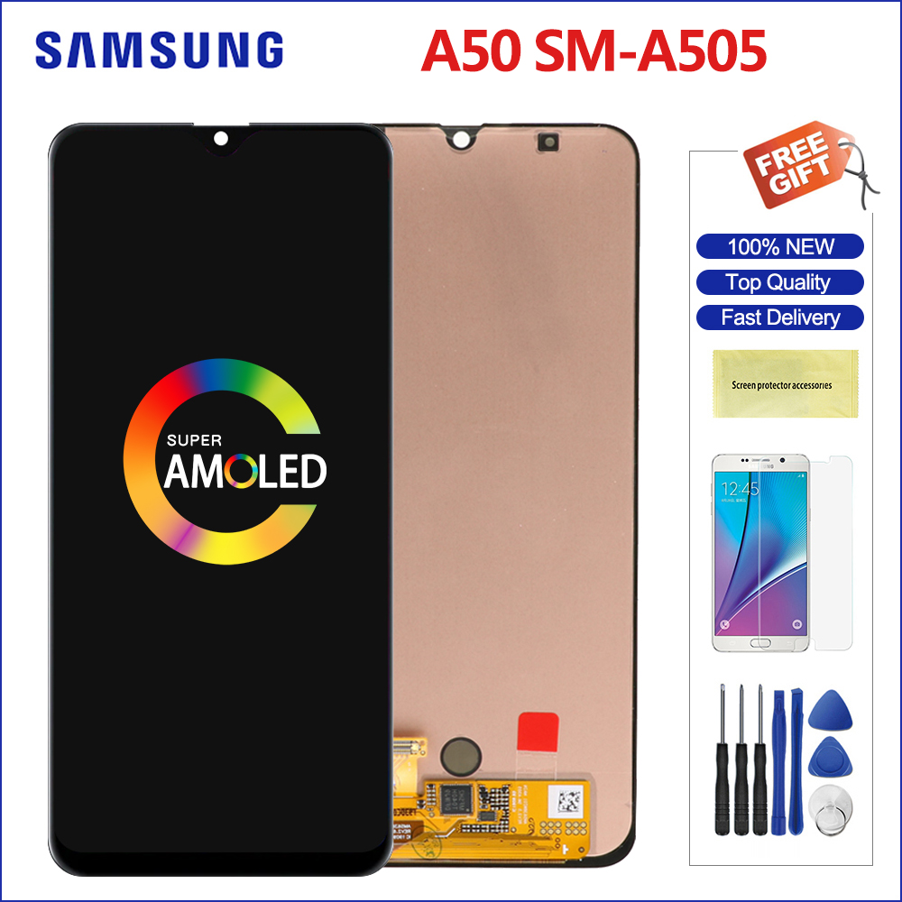 Original Super AMOLED Display For <font><b>Samsung</b></font> <font><b>Galaxy</b></font> <font><b>A50</b></font> <font><b>LCD</b></font> Display Screen+Touch Screen Panel Digitizer Replacement For A505 6.4'' image
