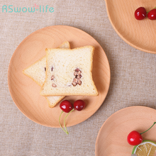 Japanese Wooden Tray Beech Round Snack Western Food Decoration Trays Restaurant Serving Solid Wood Plate Kitchen Goods
