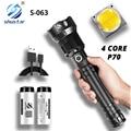 Leistungsstarke LED Taschenlampe mit 4 Core P70 Lampe Perle Zoomable 3 Beleuchtung Modi LED Taschenlampe Unterstützung für Mircro Lade Jagd lampe