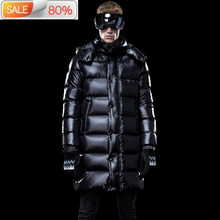 Men #8217 s Long Winter Coat Thick Warm Puffer Goose Down Jacket Men Clothes 2020 Hooded Plus Size Coats B23115 cheap REGULAR M1801M1HL013 Casual zipper Full Pockets NONE Thick (Winter) Poplin NYLON Grey goose down 300g Solid plumas hombre invierno