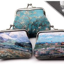 DHL 100 pieces Famous Oil Printing Small Wallet For Women Landscape Flower Pattern Mini Hasp Coin Purses Money Card Handbags