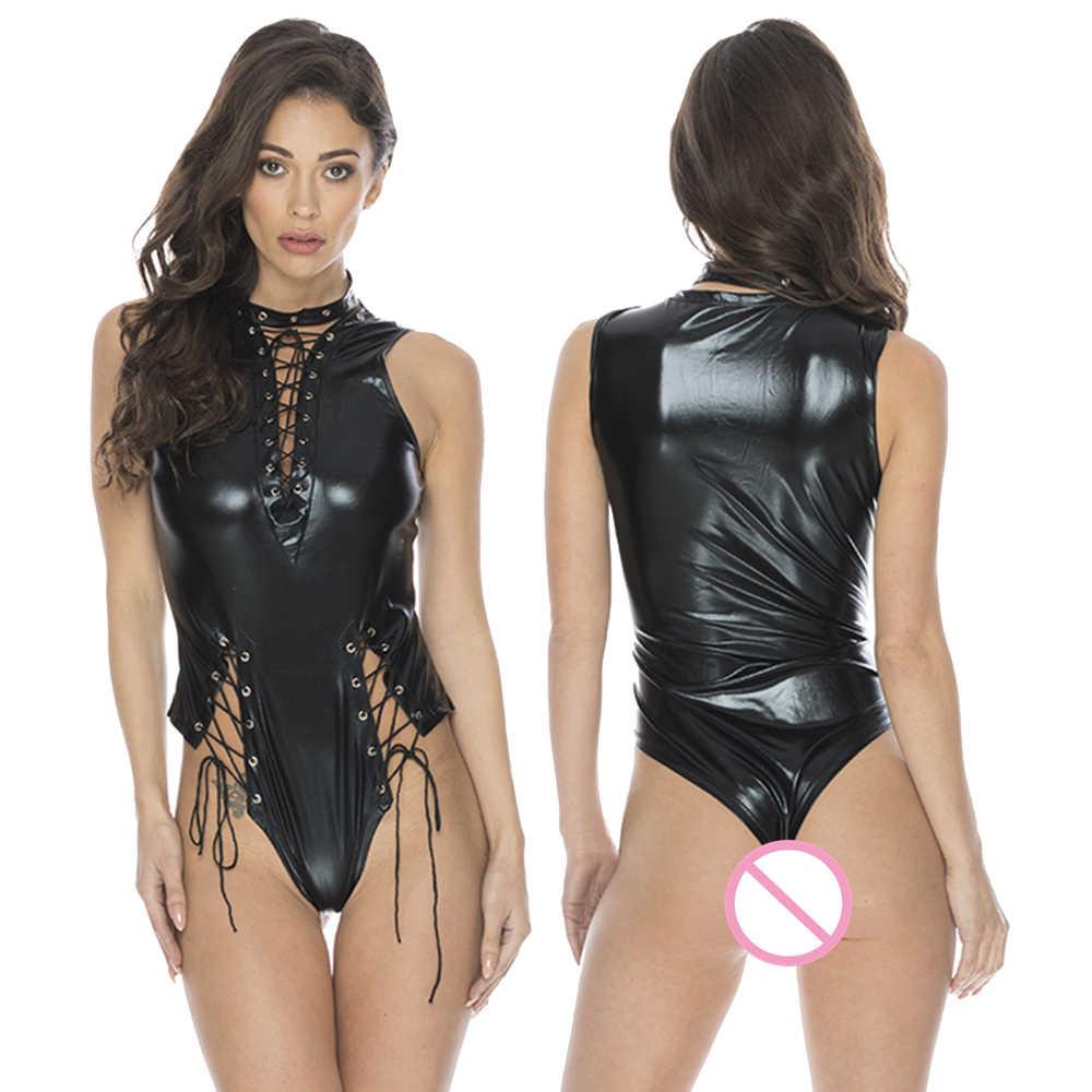 Sexy mojado de cuero de la PU de Mono para las mujeres brillante elástico de encaje tirantes Teddy Lencería sexo traje corporal de látex Clubwear