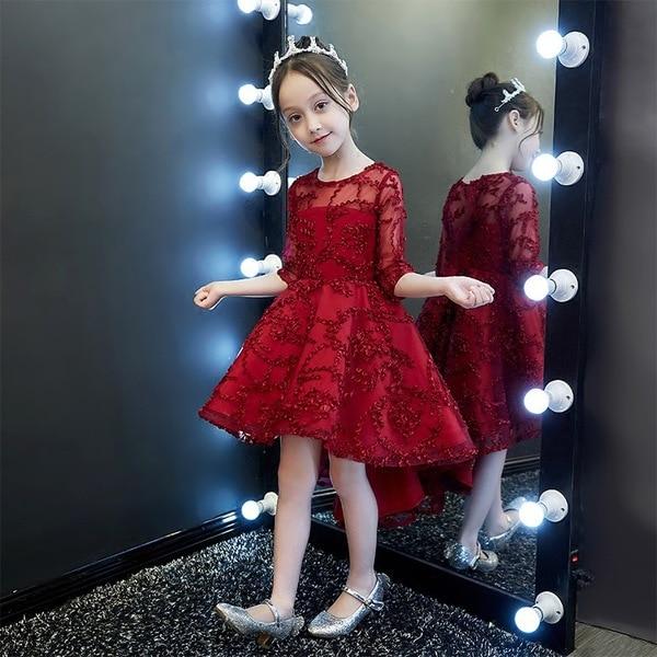 CHILDREN'S Dress Princess Dress Girls Puffy Yarn Catwalks Little Flower Girl Piano Costume Performance Host Autumn