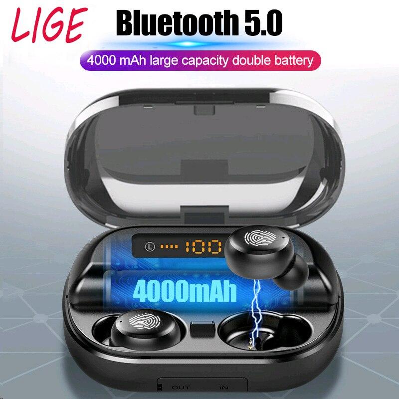 Lige tws 5.0 bluetooth 9d estéreo fones de ouvido sem fio ipx7 à prova dhandágua esporte handsfree com 4000 mah banco potência