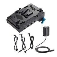 V lock 배터리 플레이트 어댑터 bmcc bmpcc 용 EN EL15 더미 배터리 어댑터 nikon d850 d800 모니터 오디오 분배기 용|배터리 액세사리|가전제품 -