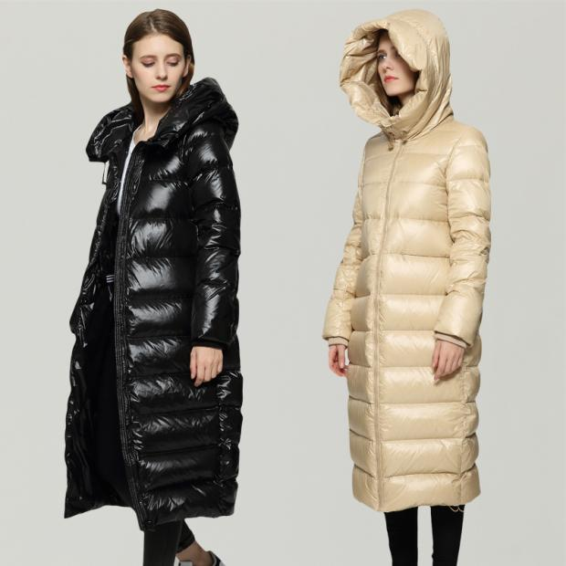 New X-Long Hoonded White Duck Down Parka Female Thick Wide-waisted Feather Jacket Women Overcoat High Quality LX823