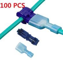 100 peças (50 conjuntos) conector de cabo elétrico, conector de fios de fechadura rápida em forma de t para cabos de 0.5-4mm m2 conectar awg 22-18/12-10/18-14
