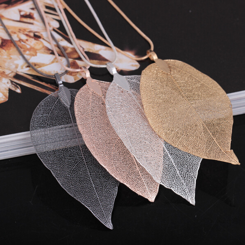 Fashion Jewelry Maxi Necklace Rose Gold Color Chain Real Leaf Charm Design Pendant Necklaces & Pendants Women collier femme Gift