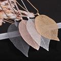Женское ожерелье с подвеской в виде листьев, цвет розового золота
