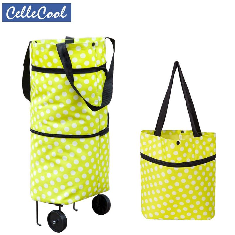 Free Shipping Folding Portable Shopping Bags Buy Vegetables Bag High Capacity Shopping Food Organizer Trolley Bag On Wheels Bag