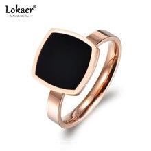 Lokaer – bague en titane et acier inoxydable pour femme, bijou de mariage, en or Rose, carré, noir, en acrylique, Design célèbre, R17044