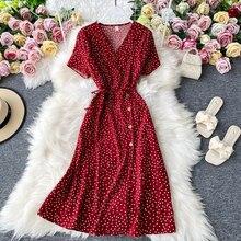 Chffion vermelho elegante sexy vestido feminino 2020 verão praia com decote em v polka dot midi vestido cintura dividir vestidos de fiesta roupas