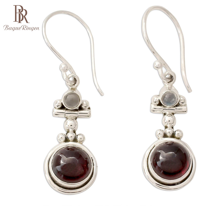 Bague Ringen Vintage Delicate Rubellite Earrings For Women Fashionable Thai Silver 925 Jewelry Anniversary Female Gift Wholesale