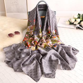 2020 Luxury Ladies Silk Scarf Summer Women's Beach Long Scarves Flowers Floral Printed Vacation Sunscreen Shawl Wraps 180X90CM floral embroidery bow tie scarves summer chiffon poncho cape women elegant ruffle long sleeve shawl female silk scarf sunscreen