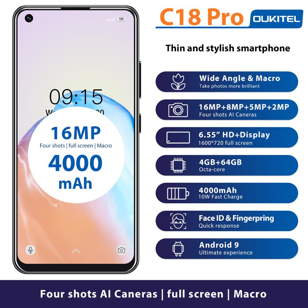 Смартфон OUKITEL C18 Pro на Android 6,55, восемь ядер, экран 9,0 дюйма, 4 Гб + 64 ГБ