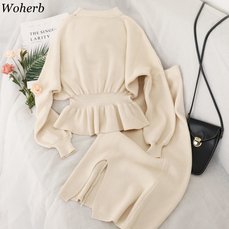 Woherb Elegant Skirt Sets Ruffle Solid Color Long Sleeved Knitted Slim Waist Sweaters Split Skirts Lady Fashion New Suits 91398