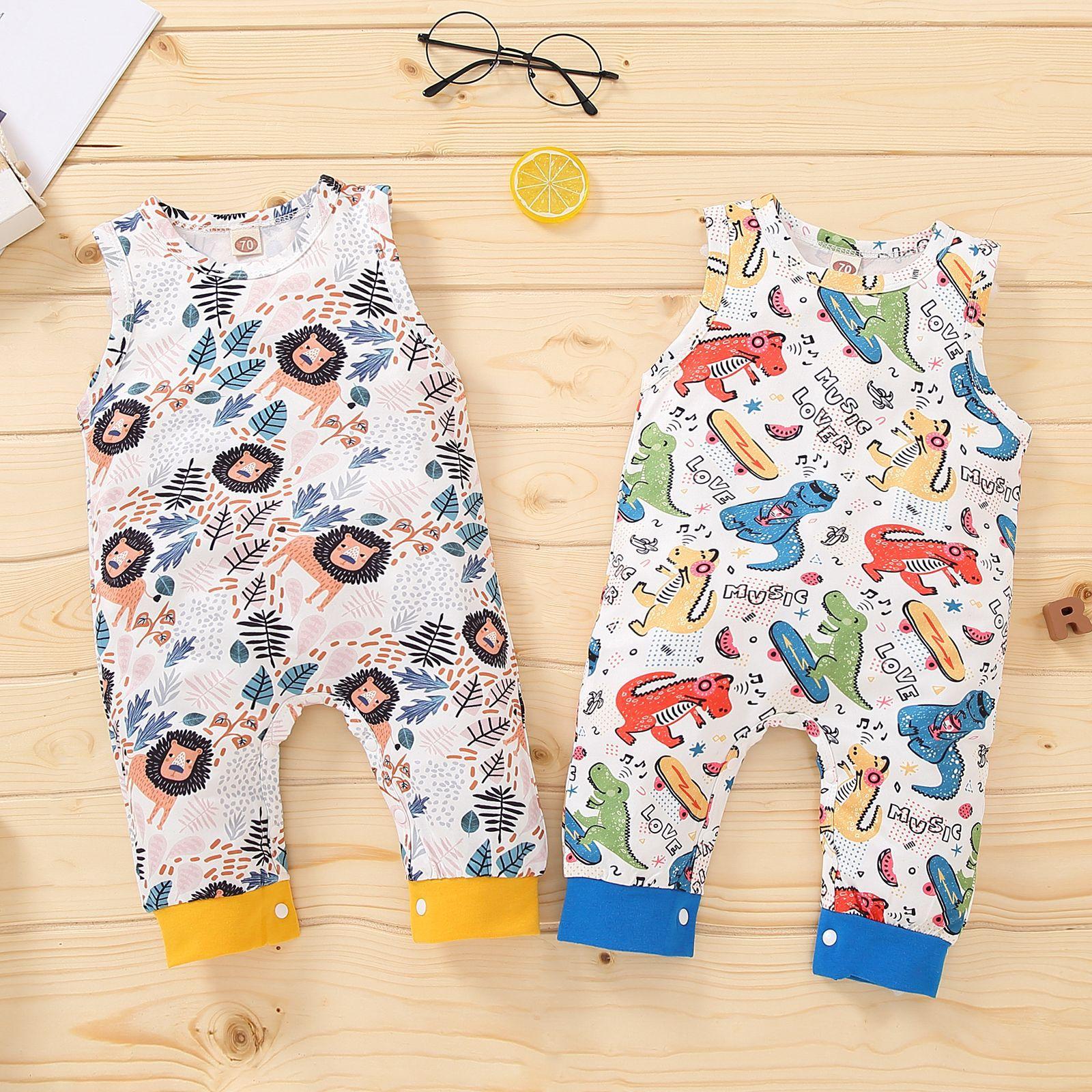 Newborn Baby Girls Boys Casual Jumpsuit Summer Sleeveless Lion/Dinosaur Print Round Neck Romper Children's Pants Baby Clothes