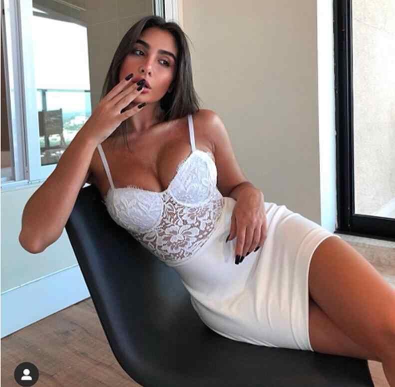 Nuevo verano 2019 moda Bodycon vendaje Vestidos Sexy Spaghetti Strap Vestido de fiesta de encaje blanco Club Vestido
