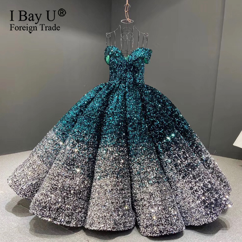 Luxury Sparkling Sequins Ball Gown Wedding Dress Plus Size 2020 France Sweetheart Sexy Robe De Mariée Off Shoulder Wedding Gown