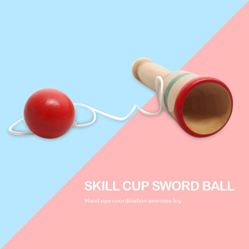 Wooden Skill Sword Cup Ball Games Toy Fashionable Parent-child Interactive Toy Kids Traditional Educational Outdoor Toys