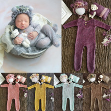 4 Pcs/Set Baby Clothes Newborn Photography Props Baby Romper Jumpsuit Hat Pillow Set With Cute Bear Doll Photo Shooting Outfits