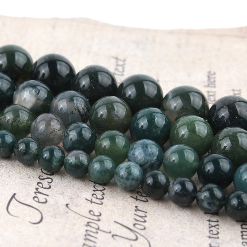 1strand/lot 4 6 8 10 12mm Moss Grass Agates Natural Stone <font><b>Bead</b></font> Loose Spacer <font><b>Beads</b></font> For Jewelry Making DIY Bracelet <font><b>Bulk</b></font> 15inch image