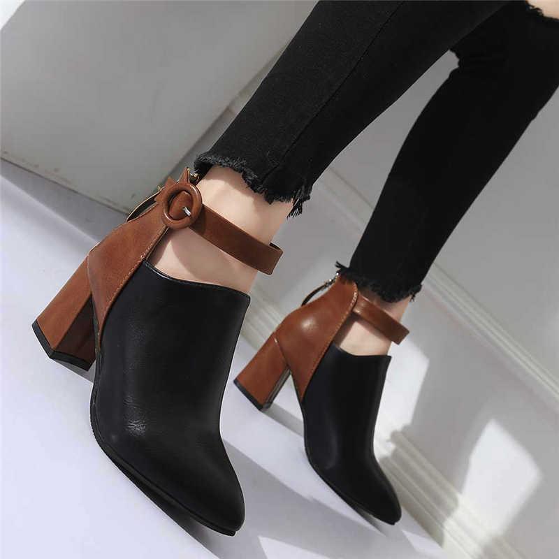 Botas mujer moda zip apontado toe altura calcanhar botas para femme inverno couro à prova dwaterproof água bota feminina salto alto para senhoras #5