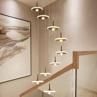 Nordic Creatieve Led Hanglamp Acryl Revolving Trap Samengestelde Building Lange Opknoping Lamp Villa Eetkamer Woonkamer Armaturen