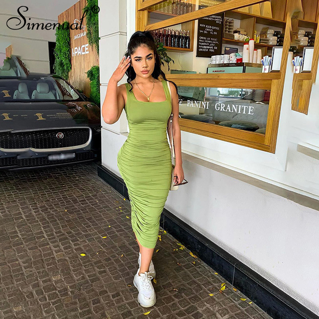Simenual Ruched Solid Sexy Bodycon Party Dresses Women Fashion Sleeveless Skinny Clubwear Basic Hot Midi Dress 2020 Slim Female 4