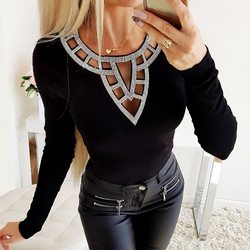 Hollow Out O Neck T-shirts Women Spring Rhinestone Long Sleeves Sexy T shirt Ladies Tee Shirt Slim Fit Female Tops Blusas D25