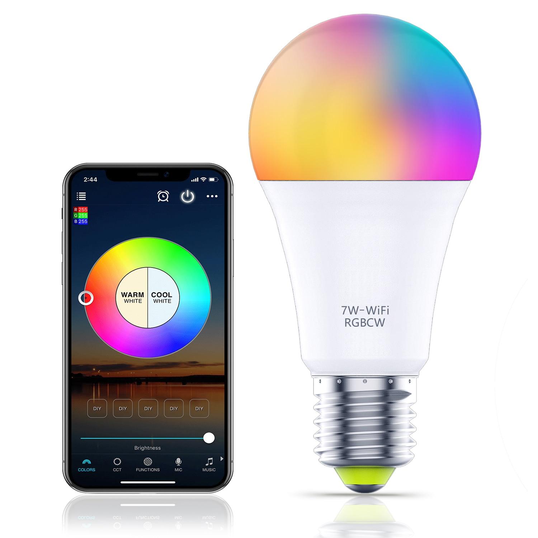 YHW Wifi Светильник лампы работать с Alexa Google Home, RGBCW Цвет изменение смарт-Лампа 220V затемнения светодиодные лампы окружающей среды светильник E27 с...