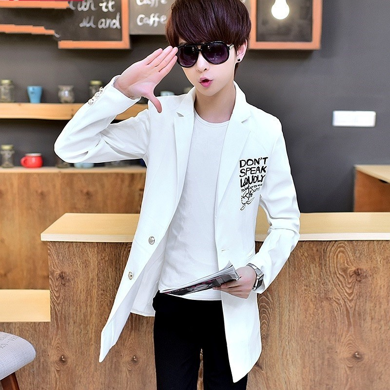 Spring Autumn Medium Leangth Mens Trench Coats Korean Printed Single Breasted Slim Fit Fashion Casual Streetwear Male Blazers